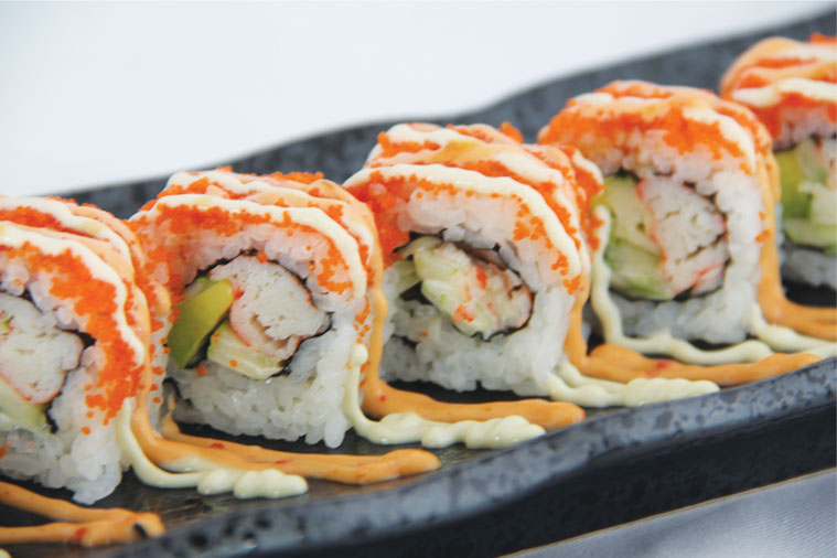 California Roll. Age-old favourite of crabstick wrapped with..
